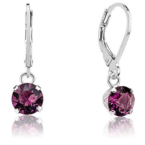 Dtp silver - orecchini pendenti da donna - argento 925 con cristalli swarovsky 6 mm - colore viola ametista