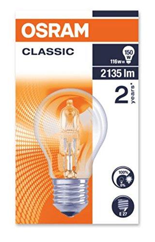 Osram Halogen-Lampe, Classic A, E27-Sockel, Dimmbar, 116 Watt - Ersatz für 150 Watt, Warmweiß - 2800K