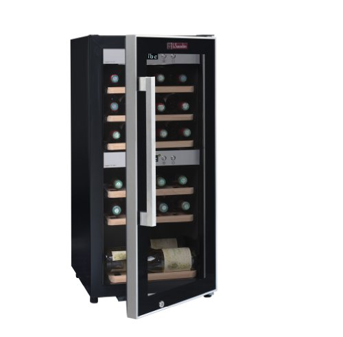 La Sommelière ECS25.2Z Weinkühlschrank / 87,0 cm Höhe/Zweizonen Weintemperierschrank mit Kompressor/Digital-Anzeige der Temperatur/edelstahl und schwarz -