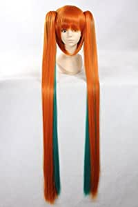 120cm Anime Miku cosplay perruque avec 2 queues de cheval perruque courte