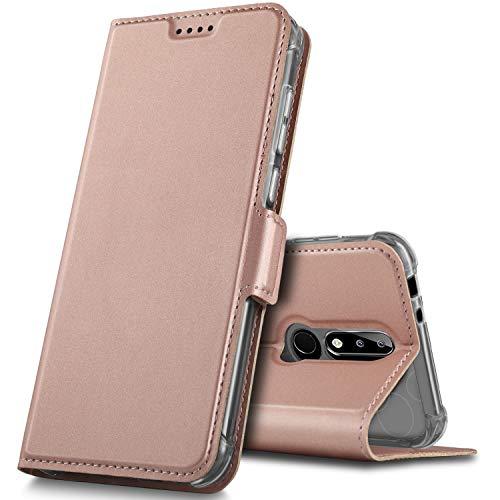 GeeMai Nokia 5.1 Plus Hülle, Nokia 5.1 Plus Leder Hülle Flip Case Tasche Cover Hüllen mit Magnetverschluss [Standfunktion] Schutzhülle Handyhülle für Nokia 5.1 Plus Smartphone, Rosegold