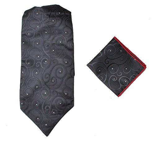 Ascot-schal (Herren-Premium-Ascot-Krawatte, Italienische Designerkrawatte, 100% Seide, Paisleymuster, mit Einstecktuch Gr. Einheitsgröße, Schwarz gemustert)