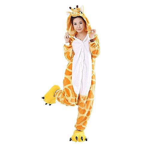 Unicsex Süß Tier Overall Pyjama Jumpsuit Kostüme Schlafanzug Für Kinder / Erwachsene (M, Giraffe)