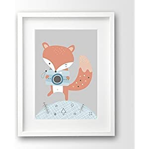 Kinderbild ungerahmt, kleiner Fuchs mit Kamera A4