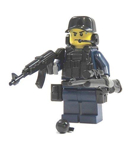 Polizist Spezialeinheit aus LEGO® Teilen mit Custom Zubehör mit Waffe blau (Zubehör Polizist)