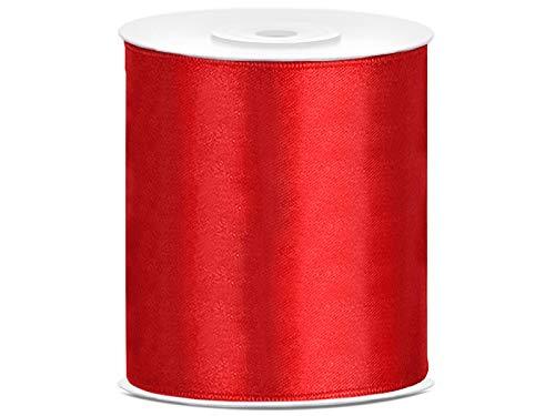 Satin Dekoband Hochzeit Geschenk 25 m auf einer Rolle 100 mm breit (rot) (Band Rot)