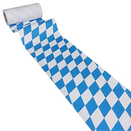 JUNOPAX 49641930 Papiertischläufer 50m x 0,20m Bayrische Raute blau weiß Bavaria Oktoberfest nass- und wischfest