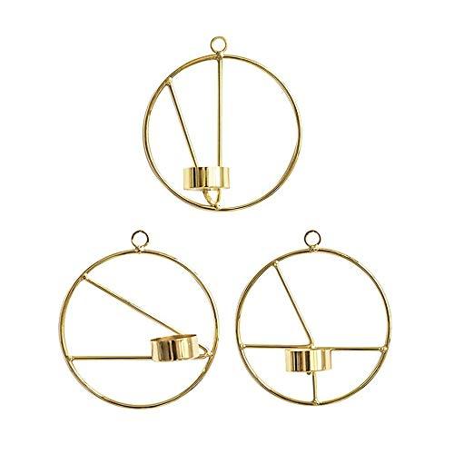 LouisaYork Metall-Kerzenhalter, geometrische Wandkerzen, 3 Stück, nordischer Stil, 3D-Geometrischer Kerzenständer für Zuhause, Hochzeit, Veranstaltung, Weihnachten, Tisch -