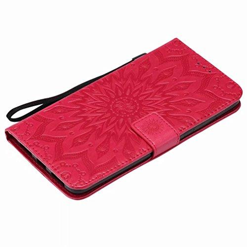 LEMORRY ZTE Zmax Pro / Z981 Custodia Pelle Cuoio Flip Portafoglio Borsa Sottile Bumper Protettivo Magnetico Morbido Silicone TPU Cover Custodia per ZTE Zmax Pro, Fiorire (Blu) Rosso