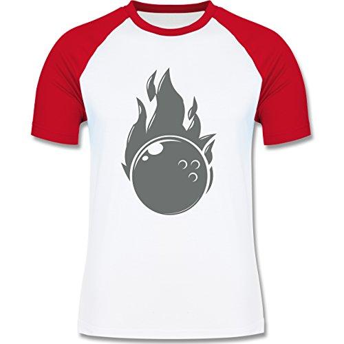 Bowling & Kegeln - Bowling Flammen Ball einfarbig - zweifarbiges Baseballshirt für Männer Weiß/Rot