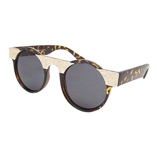 Schildpatt Steampunk Brille, rund Sonnenbrille Emo Retro Vintage Cyber Aztec Gold