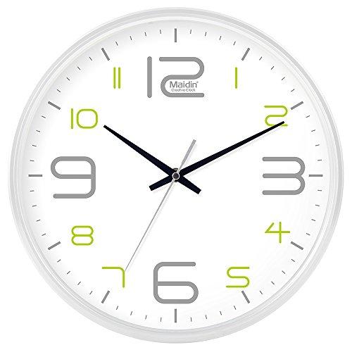 DIDADI Wall Clock Schautafel Schlafzimmer Wohnzimmer Hörraum Wanduhr Herr Ding hinter dem Kalender Uhr - Ching-stein Batterie Uhren britischen Jong-Mann, 8 Zoll, die normale Version 543 weiß und rund.