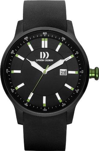 Danish Design Herren-Armbanduhr DZ120183, analog, Quarz, schwarzes Zifferblatt und schwarzes Gummiarmband