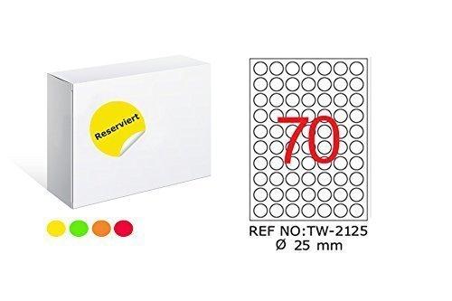 TANEX TW-2125 Fluores Zi Er Fin Etiquetas rojo ø 25 mm -redondo- 25 Bl. A4