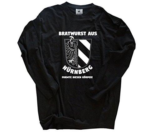 Shirtzshop Bratwurst aus Nürnberg formte diesen Körper - Grill BBQ Party Longsleeve-T-Shirt Schwarz S -