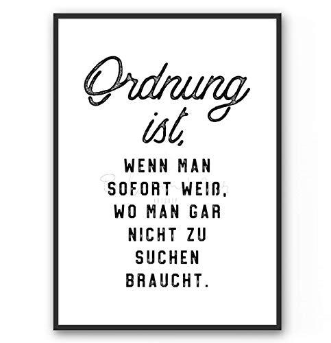 DIN A4 Kunstdruck Poster ORDNUNG -ungerahmt- Typografie, Spruch, Arbeitsplatz, vintage, witzig