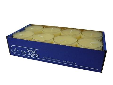 Maxi Teelichter im Acryl-Cup, Creme, durchgefärbt, 16er-Packung,