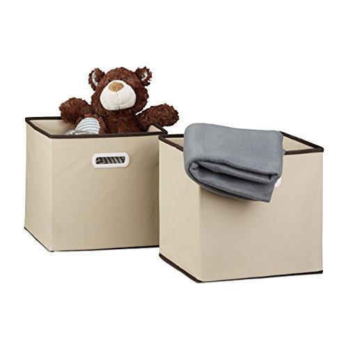 Relaxdays Faltbox 2er Set, Quadratisch H x B x T: 30 x 30 x 30 cm, Aufbewahrungsbox, Regalbox, Beige (Aufbewahrungsbox Quadratische)