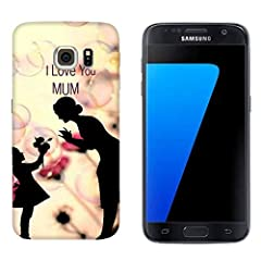 Idea Regalo - Generico Cover Samsung Galaxy S7 Festa della Mamma I Love You Mom/Custodia Stampa Anche sui Lati/Case Anticaduta Antiscivolo AntiGraffio Antiurto Protettiva Rigida