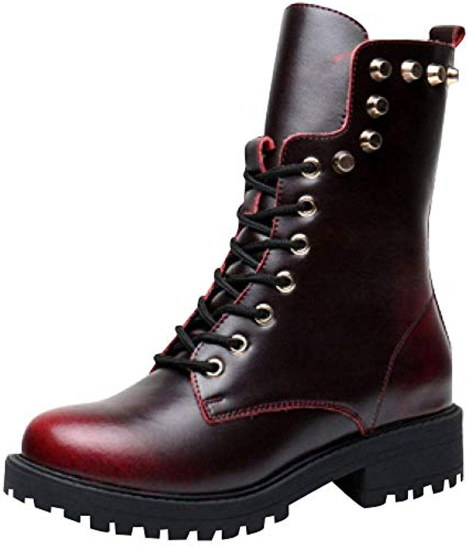 ZHRUI Stivali in Pelle Moda Autunno e Inverno Martin Scarpe Calde (Coloreee   3, Dimensione   35EU) | Produzione qualificata  | Sig/Sig Ra Scarpa