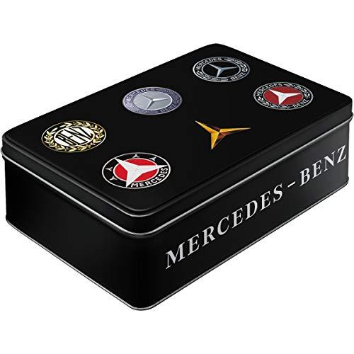 Nostalgic-Art 30746 Mercedes-Benz - Logo Evolution - Vorratsdose Flach -Keks-Dose - mit Scharnierdeckel