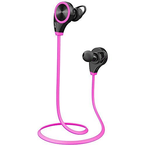 Ecandy Bluetooth 4.0 Wireless Stereo Deportes / marcha y Gimnasio / ejercicio Auriculares Auriculares de manos libres Bluetooth Headset con micrófono para Iphone 6 5s 5c 4s 4, iPad 2 3 4 Nuevo iPad, iPod, Android, Samsung Galaxy, Teléfonos inteligentes dispositivos Bluetooth. (rosa)