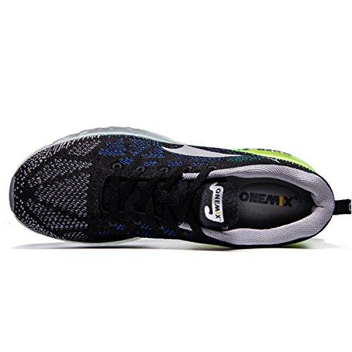 Onemix Sneakers Basses Homme,Chaussures de Course Homme léger Respirant Coussin d'Air Black Gray Green