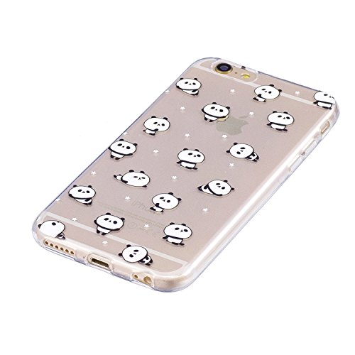 Für iPhone X Clear Case,SKYXD Ultra Thin Palm Pandas Muster gedruckt transparente Gel Back Shell Soft Silikon TPU schützende Stoßfänger Fall Deckung für iPhone X + 1xStylus + 1xDust Plug Pandas