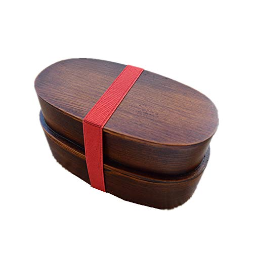 Syeytx Wooden Doppelschicht Lunch Box-Single Layer Ash Lunch Box Sushi Box Wooden Single Wooden Lunch Box Tableware-Raw Wood Handmade-largeoval