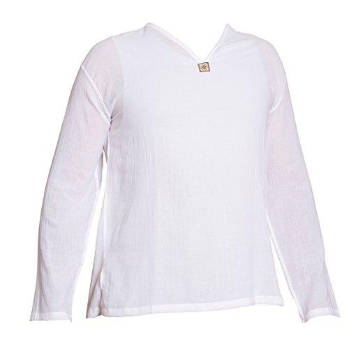 PANASIAM Sommer Hosen und Hemden Aus wohlig Weicher, 100% Reiner Naturbaumwolle Shirt buttonfree WHITE