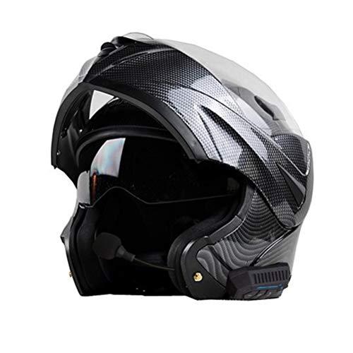 Casco moto per adulti Bluetooth in fibra di carbonio doppia lente Flip Up Casco moto Outdoor Full Face Protezioni Moto Accessori in tutte le stagio