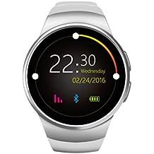 Bluetooth reloj inteligente pulsómetro–awow KW18Smart bandas en pantalla IPS HD redonda de 1,3pulgadas Dual OS (iPhone y Andriod) 240x 240píxeles RAM 128+ 64MB apoyo esfera manos libres teléfono registros el libro de teléfono Bluetooth teléfono 2años de garantía