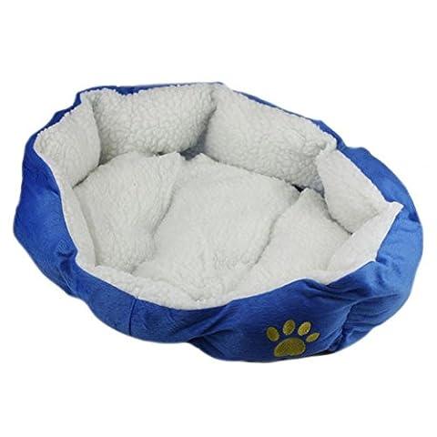 Panier pour Chien Chat Animaux, Kolylong Pet Puppy Dog Cat Fleece lit chaud Maison en peluche Cozy Nest Mat Pad (46cmX42cm, Bleu)