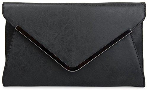styleBREAKER Envelope Clutch, Abendtasche im Kuvert Design mit Schulterriehmen und Trageschlaufe, Damen 02012047, Farbe:Schwarz (Clutch Damen)
