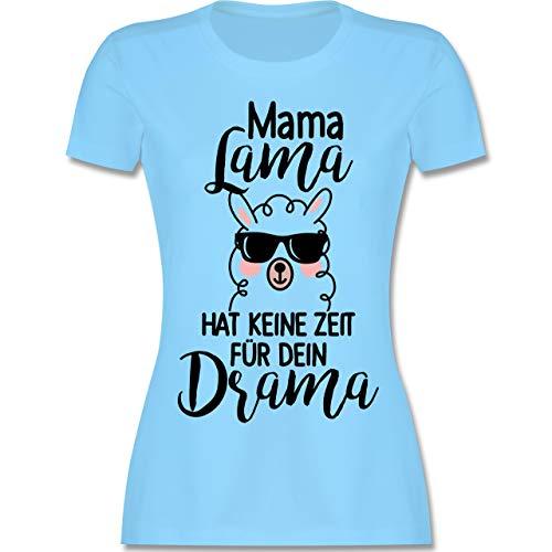 Muttertag - Mama Lama hat Keine Zeit für Dein Drama - XXL - Hellblau - L191 - Damen Tshirt und Frauen T-Shirt