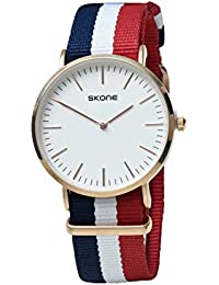 Skone 6165-Man-2 Analog White Dial Denim Strap Wrist Watch / Casual Watch - For Men's