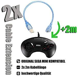 2x Kabel für SEGA MEGA DRIVE Mini Controller Verlängerungskabel Cable Extension 2x 2m für ORIGINAL SEGA MINI OFFIZIELLE VERSION TRANSPARENT TOPQUALITÄT