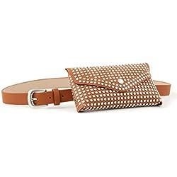 AMOYER Leather Para Mujer De La Cintura De Fanny Del Bolso De La Correa Extraíble Paquete Bolsa De Viaje Tachonado Bolso Para Niñas