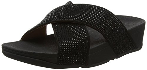 FitFlop Damen Ritzy Slide Sandals Peeptoe Schwarz (Schwarz)