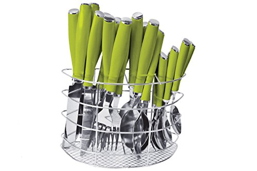 24 Piece Coloured Handle Cutlery Set with Cutlery Holder - Stainless Steel, Green