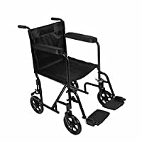 Lightweight Folding Wheelchair Foldable Transit Wheelchair for Travel Portable Black Steel Compact Transport Wheelchair