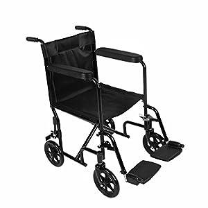 Lightweight Folding Wheelchair Foldable Transit Wheelchair for Travel Portable Black Steel Compact Transport Wheelchair