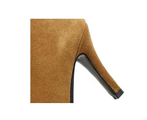YYH Automne et hiver pointue fine avec bottes à talons hauts de bottillons Bottes élégantes femmes minces Bottes courtes en cuir véritable Brown