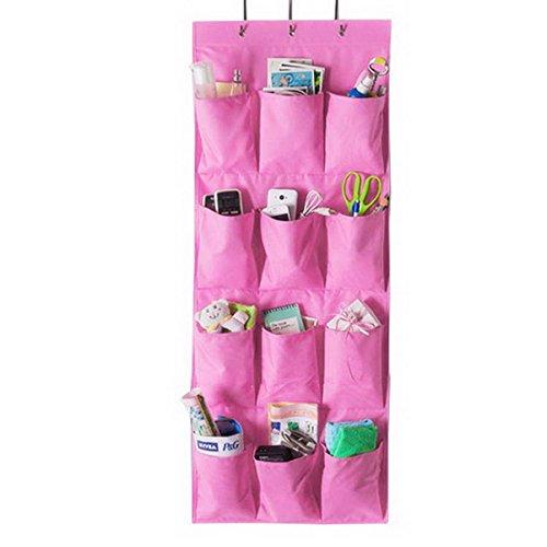 Borsa portaoggetti da parete Organizzatore, Armadio Organizzatore,Lino/cotone tessuto 12 tasche parete Porta armadio Hanging dellorganizzatore immagazzinaggio del sacchetto dellorganizzatore Rosa