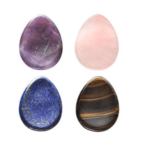 QGEM 4 PCS Thumb natürlcihes Worry stone(Handschmeichler) Trommelstein Amethyst Rosenquarz Lapis Lazuli und Tigerauge Edelstein Healing Kristall Pocket Palm Steine