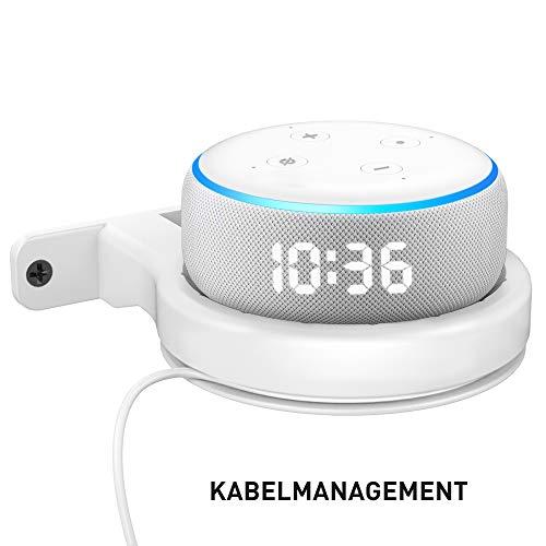 Delidigi Wandhalterung für Dot ABS Halterung Dot Ständer Regal für Echo Dot (3rd Gen) mit Kabelmanagement Platzsparende Zubehör für Dot 3nd Generation (Weiß)