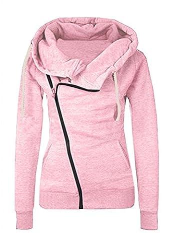 Minetom Frauen Damen Kapuze Pullover Langarm Schräge Zipper Hoodie Cross Ausschnitt Sweatshirt Jacke Outwear Oberteile Rosa DE 44