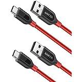 [2-Pack] Anker PowerLine+ USB C Kabel auf A 2.0 USB Kabel, 0.9m, für Galaxy S8, S8+, MacBook, Sony XZ, LG V20 G5 G6, HTC 10, Xiaomi 5 und mehr ( Rot)