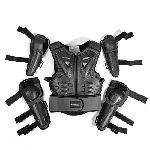 XEPAJS Motorrad Rüstungs Set Weste Kind Sleeveless Straßen Fahrrad Kasten Rückenschutz Stilvolle Kühle Fahrrad Weste Schutz, 2 Ellbogenschützer und 2 Knieschützer
