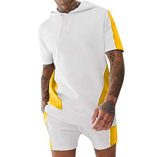 BHYDRY Männer Hemd und Shorts mit Kapuze Outfit Pocket Sport Color Block Zweiteiler